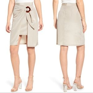 J. O. A. Wrap Front Side Buckle Khaki Skirt